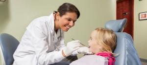 Little girl at dentist